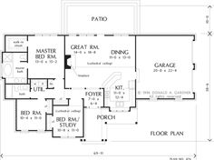 First Floor Plan of The Wadsworth - House Plan Number 476