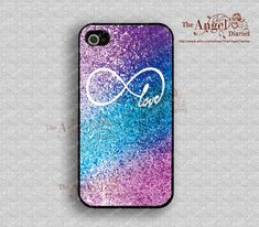 Sparkle,infinity and love iPhone 4 Case, iPhone 4s Case, iPhone 4 Hard Plastic Case, Personalized iPhone Case--water proof on Etsy, $8.99