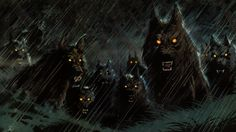 Now this is not a a canine pack I would want to meet. Would you? Demon+Werewolf+|+dark+werewolf+hellhound+animals+wolf+wolves+fangs+demons+evil+fantasy+...