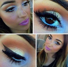 Neutral eye pink lips