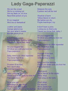 Lady Gaga Paparazzi Lyrics Sheet JJL