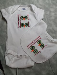Embroidered Gerber Onesie and Bib set for by AppliquesByGranjan, $18.00