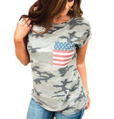 >> Click to Buy << 2XL Summer TShirt Women Fashion Print Pattern Roupa Mujer Tunic Printed USA Flag Camouflage Tracksuit Tops Tee Shirt LJ9824U #Affiliate