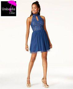 20076c595fe City Studios Juniors  Glitter Lace Fit   Flare Dress