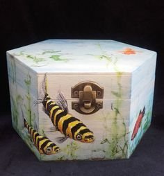 Painted Wooden Aquarium Box by PaintWorkStudios on Etsy