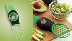 3-in-1 Avocado Slicer Smash your veg preparation with the3-in-1Avocado Slicer      3-in-1 tool makes it simple to split, pitand sliceavocados      Serrated plastic knife cuts avocados in half      Pitter removes the stone with a safe twisting motion      Fan blade slices and removes the fruit from the skin      Use it with other soft fruit too, from mango to papaya      Made of food...