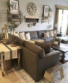 08 Cozy Modern Farmhouse Living Room Decor Ideas #HomeDecorIdeas,