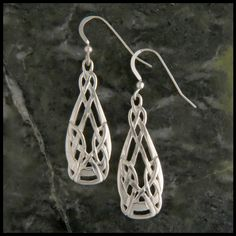 Sterling silver Celtic teardrop earrings by Walker Metalsmiths in the style of Archibald Knox, an Art Nouveau designer from the Isle of Man. Matching Pendant Item number: SW3321 Original designs © Ste