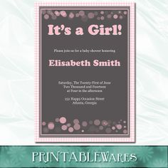 Baby Shower Invitations For Word Templates Interesting Printable Baby Shower Invitation For Girl No.3 Purplepixelbar .