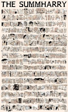 The entire Harry Potter saga in one illustration. - The entire Harry Potter saga in one illustration. Harry Potter Comics, Harry Potter Cinema, Magia Harry Potter, La Saga Harry Potter, Harry Potter Stories, Harry Potter Poster, Hogwarts, Scorpius And Rose, The Burrow