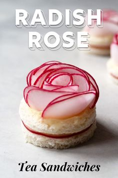 All words to describe these radish rose tea sandwiches. Made with lemon butter, these bite-sized, open-faced sandwiches are perfect for tea time. Mini Sandwiches, Finger Sandwiches, Radish Roses, Ideas Sándwich, Bite Size Appetizers, Sandwich Cake, Sandwich Recipes, Rose Tea, Kitchen