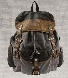 Genuine Cow leather backpack canvas BACKPACKS  por AWESOMEBAG, $89.99