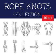 Vector Seil Knoten Sammlung. Overhand, Acht und quadratischen Knoten. Nahtlose dekorativen Elementen photo