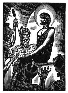 "Wood engraving by James Reid for The Life Of Christ In Woodcuts published by Farrar and Rinehart in 1930. One of twelve Publisher's proofs on Mohawk Superfine 80 lb. cover for the limited edition portfolio James Reid: Selected Wood Engravings , published by Brier Hill Press, 2013. Image size 3½"" x 5""; overall sheet size 9"" x 12"". Numbered in pencil lower left corner of image; publisher's blind stamp lower right corner of sheet. REID-C14 $175."