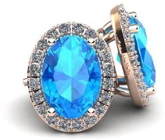 Ice 1 2/9 CT TW Blue Topaz 10K Rose Gold Halo Stud Earrings with Diamond Accents