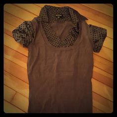 BEBE Sweater Vest w/ Blouse Great professional top! The Blouse is attached at the top of the vest. No wrinkled or uneven Blouse to worry about. Smooth as silk!! Size is Med but could fit a Small. bebe Tops Blouses