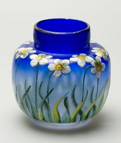 Vase, Fritz Heckert, enameled glass, late 19th-early 20th century