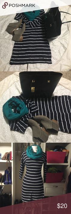 Express stripes dress Express navy blue and white stripes dress round neck. The sleeve stop at the elbow and the waist has a curve Express Dresses Long Sleeve