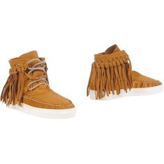 Köe Ankle Boots ($110) ❤ liked on Polyvore featuring shoes, boots, ankle booties, camel, short fringe boots, flat ankle boots, fringe booties, leather boots and fringe bootie