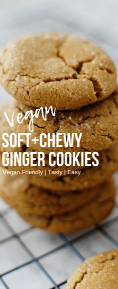 Soft Chewy Ginger Cookies These soft and chewy vegan holiday cookies are just in time for the holidays Theyre super easy to make and taste amazing Check out this post to. Holiday Cookie Recipes, Holiday Cookies, Vegan Christmas Cookies, Vegan Sweets, Vegan Desserts, Vegan Recipes, Vegan Food, Vegan Meals, Vegan Dishes