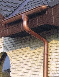 copper gutters on ends? or some other kind of half round gutters—