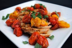 Chicken with Herb-Roasted Tomatoes and Pan Sauce by ClareCooks!,