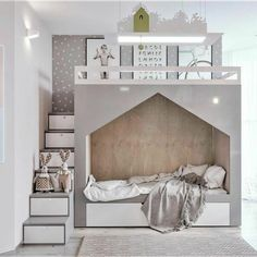 modern children's room gray-white modern cabin bed stairs with storage space Kids Bedroom Designs, Kids Room Design, Nursery Modern, Modern Room, Bedroom Modern, Modern Kids, Bedroom Furniture, Bedroom Decor, Ikea Bedroom