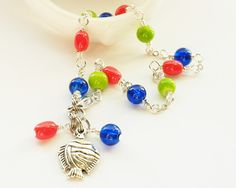 Anklet with Blue Orange Lime Green and by ReneeBrownsDesigns, $15.00