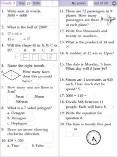 4th Grade Math Worksheets, Free Math Worksheets, 2nd Grade Math, Grade 3, Math Olympiad Questions, Math Pages, Love Math, Writing Words, Teaching Math