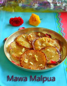 Learn how to make Mawa Malpua recipe with step by step pictures.Its an instant malpura recipe that has crispy edges and soft centers. North Indian Recipes, Indian Dessert Recipes, Indian Sweets, Ethnic Recipes, Yummy Snacks, Snack Recipes, Cooking Recipes, Kebab Recipes, Sandwich Recipes