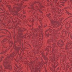 Mark Hearld - Squirrel and Sunflower wallpaper - Angus Red (fabric launching summer 2016)