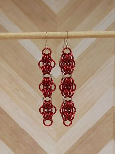 Butterflies Chainmaille Earrings, Red, Silver Dangles, Handcrafted Chainmail Jewellery, Long Dangles Chainmaille Red Butterflies, Gift Ideas