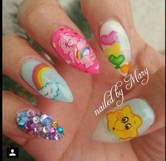 Care Bears stiletto nails valentine