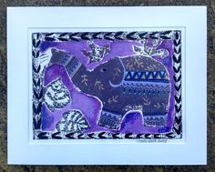 Elephant in the Garden, original painted lino print by SharonMarieWinter on Etsy