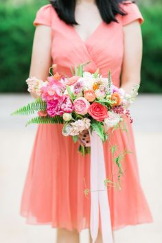 bridesmaid bouquet with ferns - photo by Korie Lynn Photography http://ruffledblog.com/nontraditional-texas-wedding-filled-with-flowers