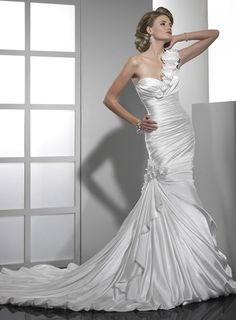 Trumpet / mermaid satin sleeveless bridal gown.... take off the one sleve and the flowers and add a crystal belt ... b-e-a Utiful !