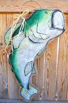 Bass Burlap Door Hanger by stackhouseLA on Etsy https://www.etsy.com/listing/164980421/bass-burlap-door-hanger
