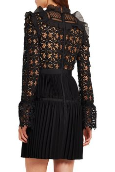 Black guipure lace, crepe and organza  Zip fastening along back 93% polyester, 7% cotton; lining: 95% polyester, 5% spandex Hand wash Imported
