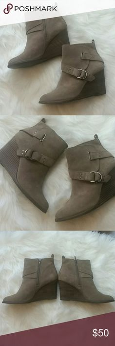 Lucky Brand Suede Wedge Booties Taupe colored suede booties. Featuring buckle detailing, side zipper and 3.5 inch wedge heel. Great with jeans and dresses! Worn once. Lucky Brand Shoes Ankle Boots & Booties