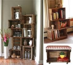Image result for Wood Crate Bookshelf