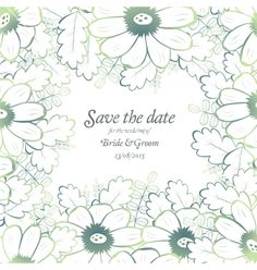 Save the date wedding invite card template vector nature inspired by Boobl on VectorStock®