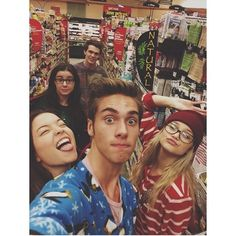 Cast of I Didn't Do It: Piper, Austin, Sarah, Olivia, and Peyton. Olivia and Austin in their PJs.