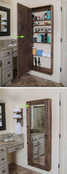 DIY Bathroom mirror storage case that holds everything. - 17 Repurposed DIY Bathroom Storage Solutions-- --not for just the bathroom. Bathroom Mirrors Diy, Bathrooms Remodel, Home Organization, Woodworking Projects Diy, Home Diy, Bathroom Storage Solutions, Home Decor, Diy Bathroom Storage, Bathroom Mirror Storage