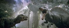 The T-Rex and the Spinosaurus face off.