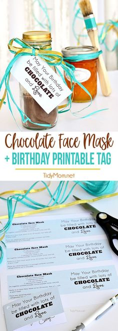 This decadent chocolate facial recipe is ideal for most skin types. Filled with antioxidants that rejuvenate the skin, and will leave your face smooth, soft, and glowing. All Natural Chocolate Face Mask makes a wonderful gift!! Get the recipe and free printable birthday tags at TidyMom.net