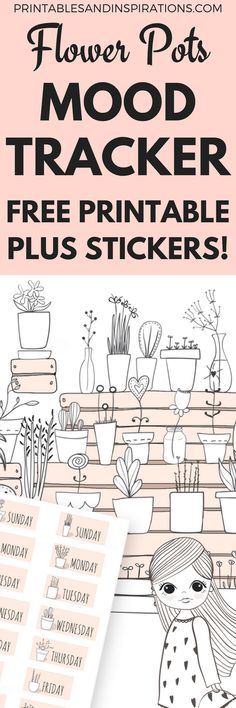 Super Cute Printable Mood Tracker Flower Pots Plus Free Stickers!