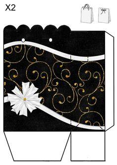 Bolsa blanco-negro-dorado