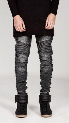 Kanye West styles biker Jeans rock Mens Hip Hop swag Jeans Washed Skinny motorcycle Denim pants Men Elastic Retro Joggers