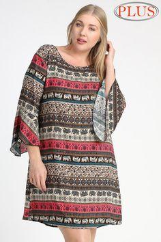 Online Clothing Boutique | Kelly Brett Boutique - Plus Size Tribal Shift Dress Mocha, $38.00 (http://www.kellybrettboutique.com/plus-size-tribal-shift-dress-mocha/)