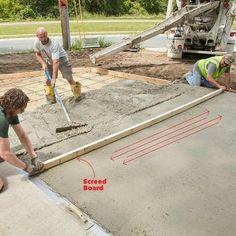 Poured concrete patio ideas the family handyman 19 Ideas Pouring Concrete Slab, Poured Concrete Patio, Concrete Forms, Concrete Steps, Concrete Projects, Concrete Walkway, Concrete Structure, Stained Concrete, Concrete Patios